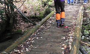 濡れて滑りやすい橋